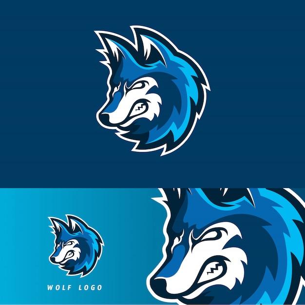 Emblème de la mascotte du jeu esport wolf Vecteur Premium