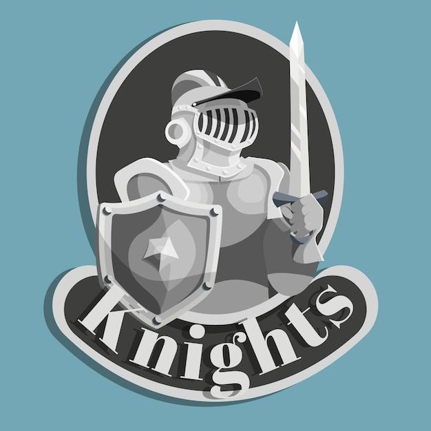 Emblème en métal chevalier Vecteur gratuit