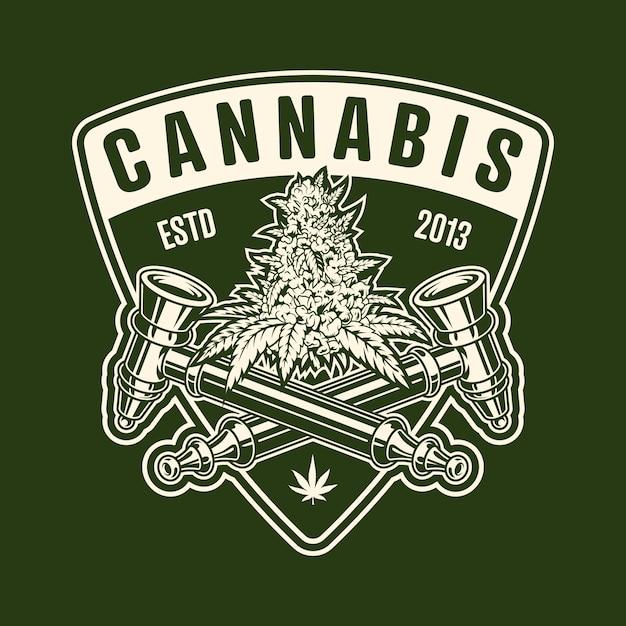 Emblème Monochrome De Cannabis Vecteur gratuit
