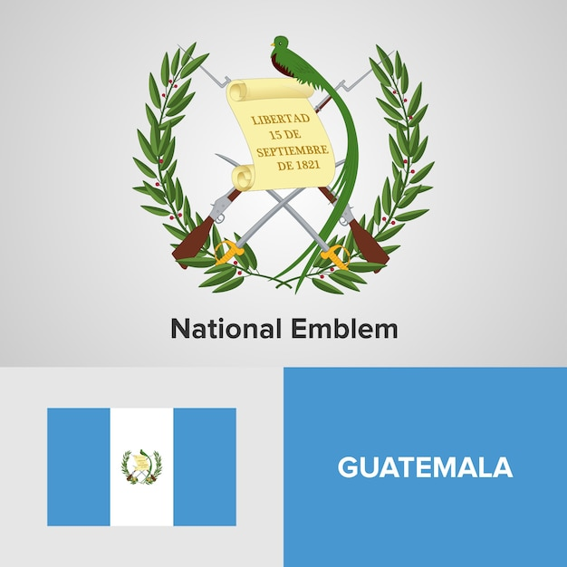 Emblème national du guatemala et drapeau Vecteur Premium