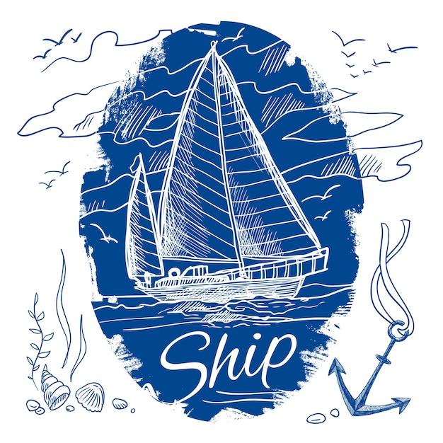 Emblème nautique avec croquis de couleur bleue Navire de schooner à voile et fond de mer illustration vectorielle Vecteur gratuit