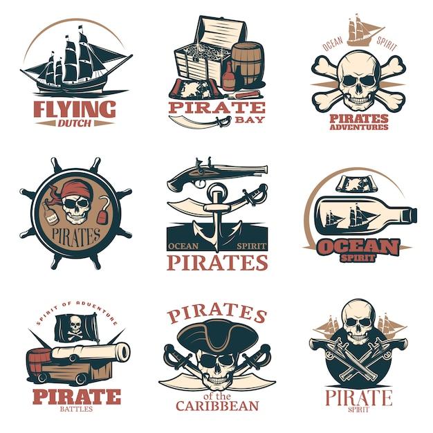 Emblème De Pirates En Couleur Avec Des Aventures De Pirates Pirates Des Batailles De Pirates Des Caraïbes Et De Nombreux Titres Différents Vecteur gratuit
