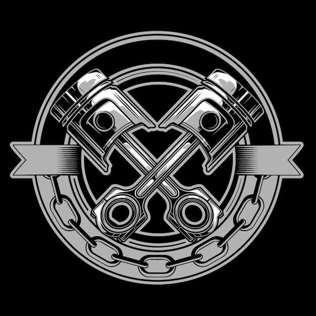 Emblème de piston de moto Vecteur Premium