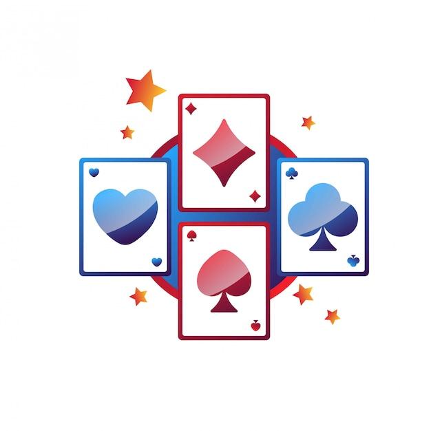 Emblème de promotion des services en ligne de casino avec cartes à jouer Vecteur Premium