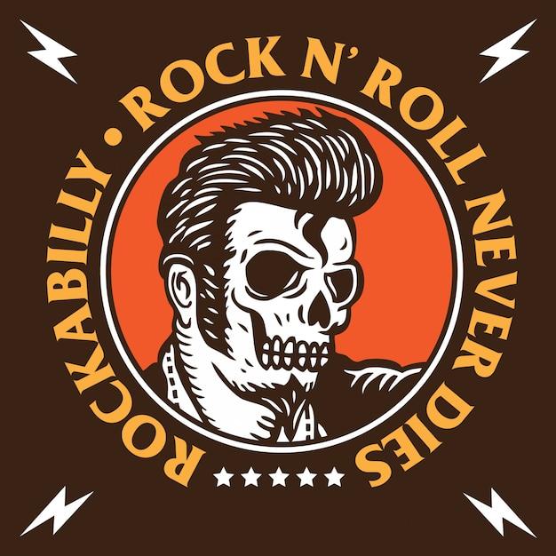 Emblème rockabilly skull Vecteur Premium