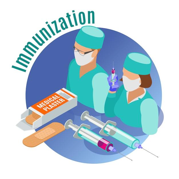 Emblème Rond Isométrique De Vaccination Avec Des Outils Médicaux Deux Médecins Et Illustration De Description De La Vaccination Vecteur gratuit