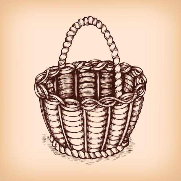 Emblème de signe de panier en osier Vecteur gratuit