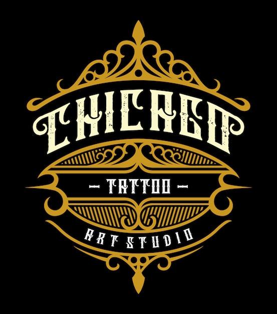 Emblème de studio de tatouage vintage Vecteur Premium