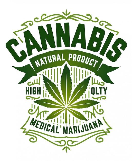 Emblème De Style Rétro De Cannabis. Emblème Vert Avec Feuille De Marijuana, Ruban Et Motifs Vintage Sur Blanc. Art. Vecteur Premium