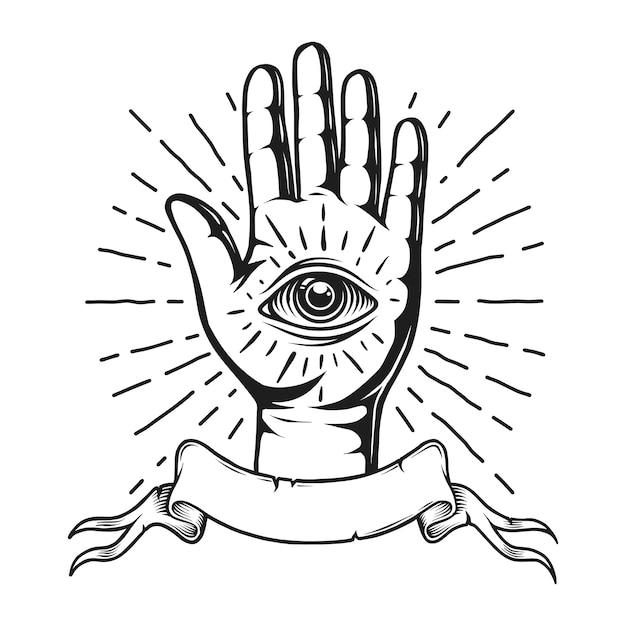 Emblème De Tatouage Monochrome Vintage Vecteur gratuit
