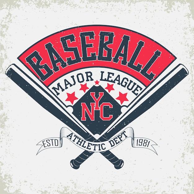 Emblème De Typographie De Baseball, Logo De Sport Vecteur Premium