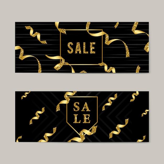 Emblème de vente avec des rubans Vecteur gratuit