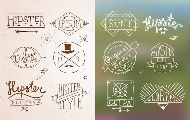 Emblème vintage hipster Vecteur gratuit