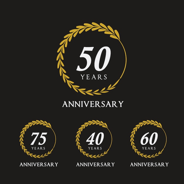 Emblèmes anniversaire d'or Vecteur gratuit