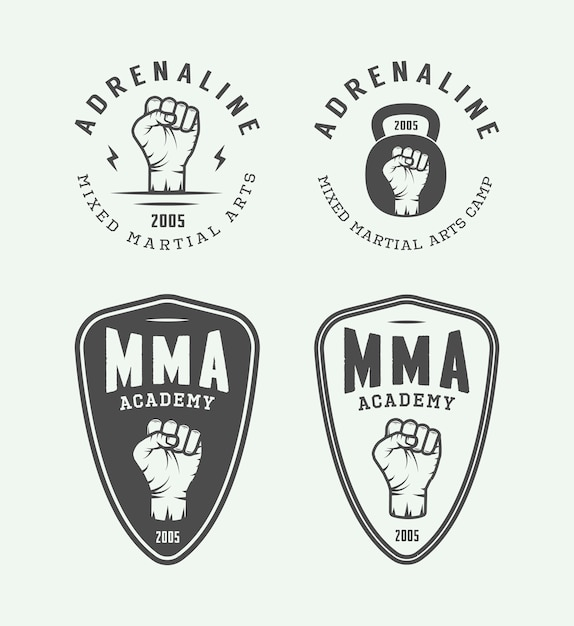 Emblèmes d'arts martiaux mixtes Vecteur Premium