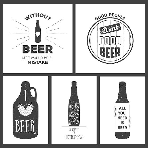 Emblèmes De Brasserie De Bière Artisanale Vintage Et éléments De Conception. Vecteur Premium