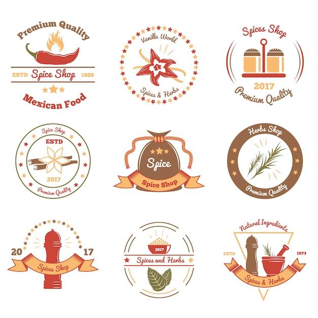 Emblèmes Colorés D'épices Et D'herbes Vecteur gratuit