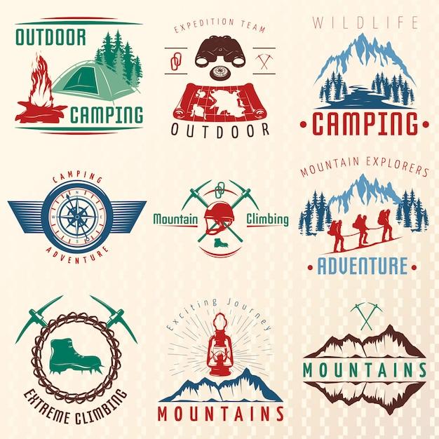 Emblèmes Colorés Des Expéditions En Montagne Vecteur gratuit
