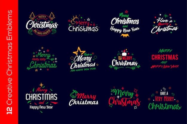 Emblèmes Colorés De Noël Vecteur Premium