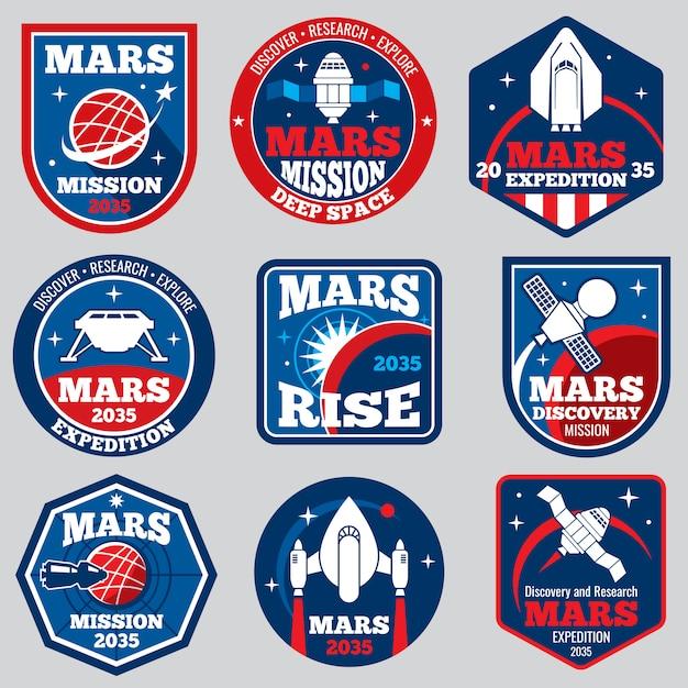 Emblèmes de l'espace de la mission mars. badges de voyage astronautes Vecteur Premium