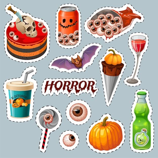Emblèmes De Fête D'halloween Avec Des Planches En Bois, Chauve-souris. Vecteur gratuit