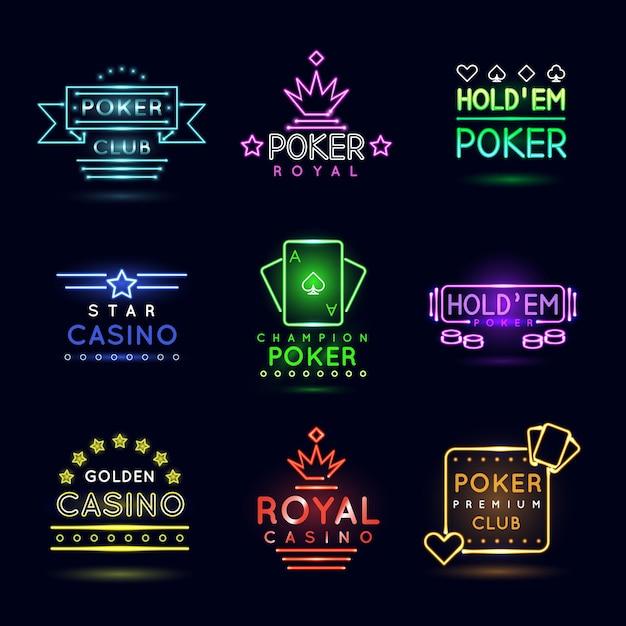 Emblèmes De Jeux De Lumière Au Néon Vecteur gratuit
