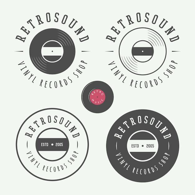Emblèmes de magasin de musique Vecteur Premium