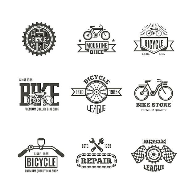 Emblèmes de magasin de vélo Vecteur Premium