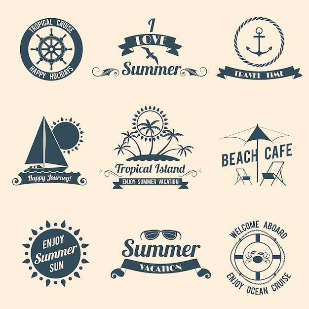 Emblèmes de la mer d'été noir Vecteur gratuit