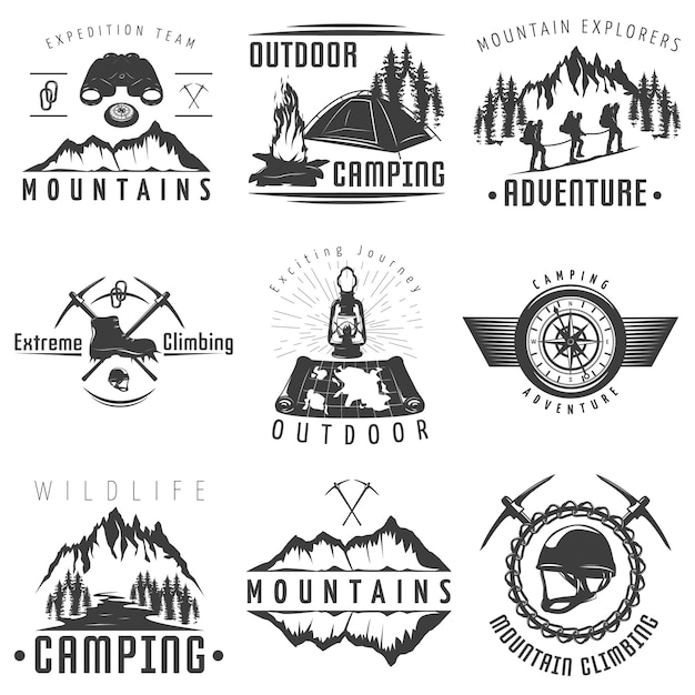 Emblèmes De Montagnes Noir Blanc Vecteur gratuit