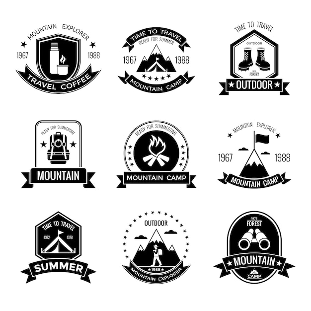 Emblèmes Noirs Du Camp De Montagne Vecteur gratuit