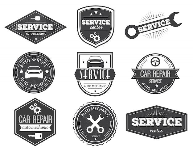 Emblèmes Noirs De Service Automatique Vecteur gratuit