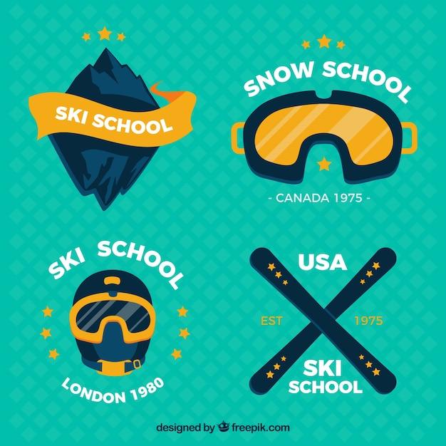 Emblèmes paquet d'écoles de ski Vecteur gratuit