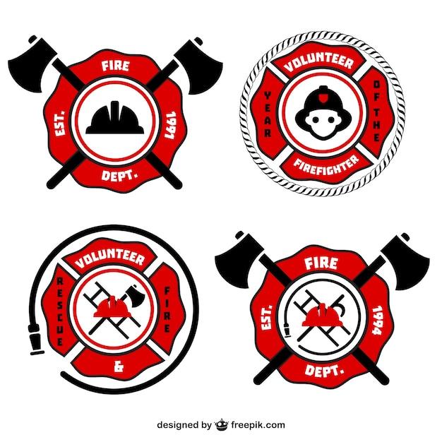 Emblèmes pompier rétro vecteur Vecteur gratuit