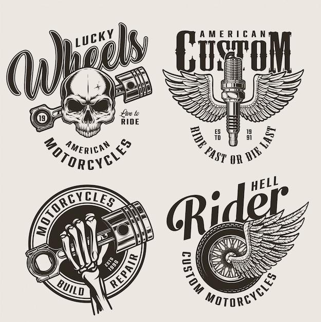 Emblèmes De Service De Réparation De Moto Vintage Vecteur gratuit