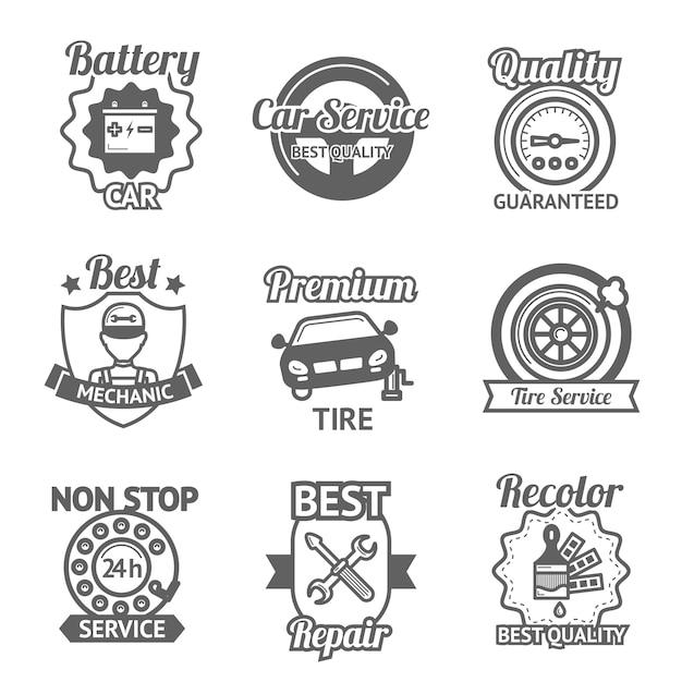 Emblèmes de service de voiture Vecteur gratuit