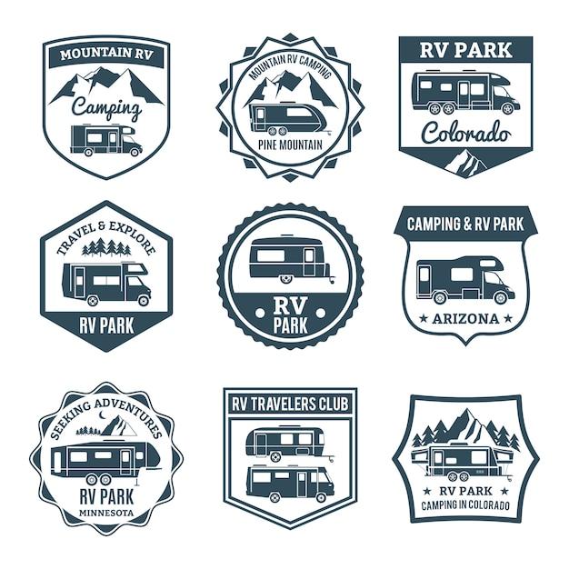 Emblèmes de véhicules récréatifs Vecteur gratuit