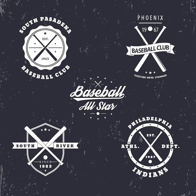Emblèmes Vintage De Baseball, Insignes, Logos Avec Des Battes De Baseball Croisées Vecteur Premium