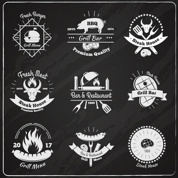 Emblèmes vintage restaurant grill Vecteur gratuit