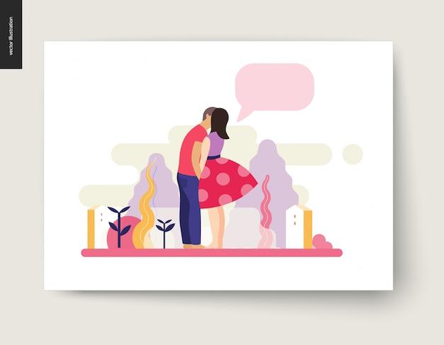 Embrasser la scène - illustration vectorielle de dessin animé plat du jeune couple, petit ami et petite amie, embrasser, scène romantique Vecteur Premium