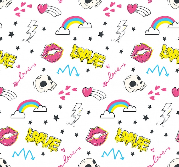 Emo adolescents doodle sans soudure Vecteur Premium