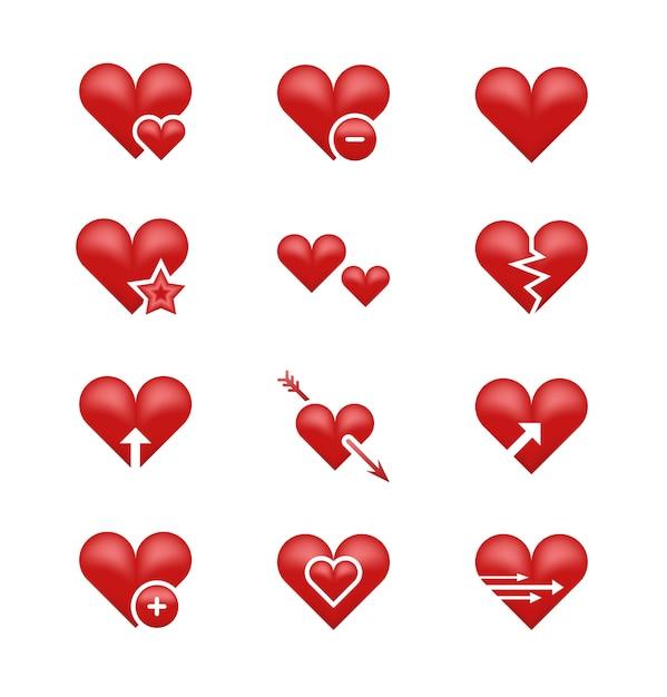 Emoji amour coeur, ensemble de vecteurs émoticônes Vecteur Premium