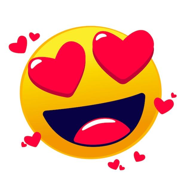 Emoji d'amour mignon Vecteur Premium