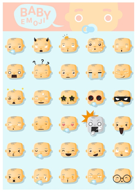 Emoji bébé icônes Vecteur Premium