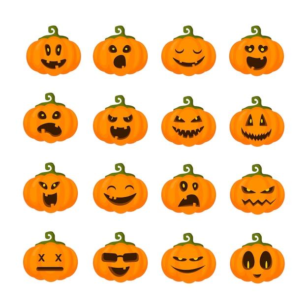 Emoji de citrouilles pour halloween, isolés, icônes sur blanc, personnages effrayants drôles Vecteur Premium
