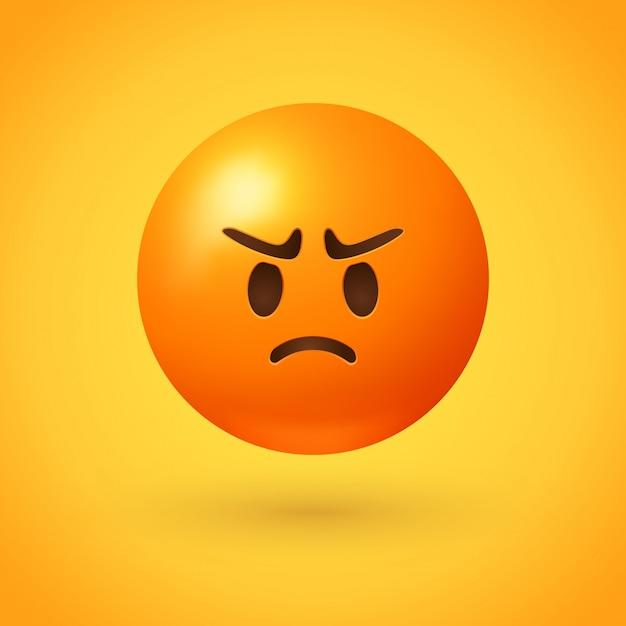Emoji En Colère Avec Visage Rouge Vecteur Premium