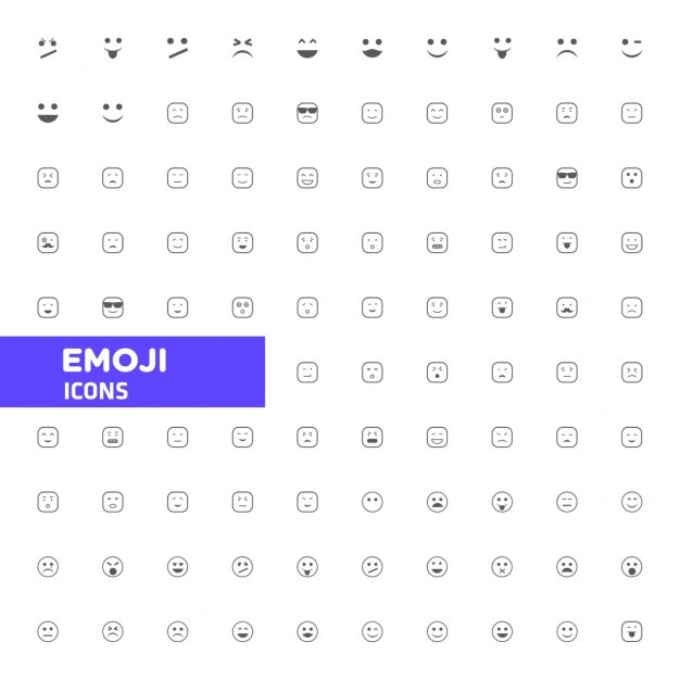Emoji grande collection d'icônes Vecteur gratuit