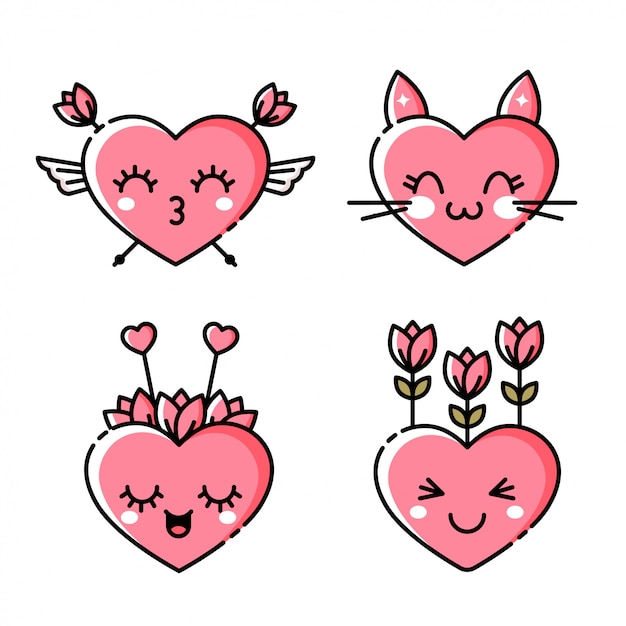 Emoji heart icon Vecteur Premium
