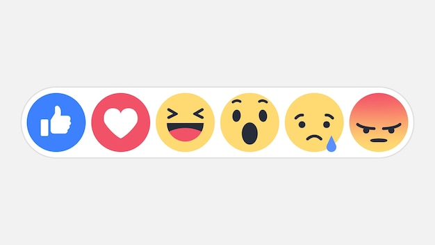 Emoji icône de réactions de réseau social Vecteur Premium