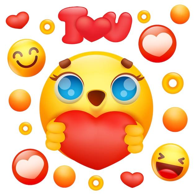 Vecteur Premium Emoji Jaune 3d Sourire Visage Personnage Tenant L Icone Du Cœur Rouge